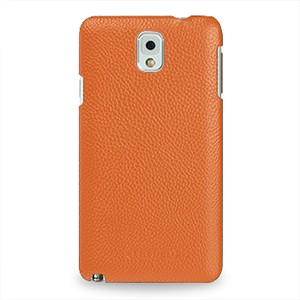 Кожаный чехол накладка Back Cover (нат. кожа) для Galaxy Note 3 Оранжевый