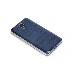Кожаный чехол крышка-накладка Back Cover (нат. кожа крокодила) для Galaxy Note 3 Синий