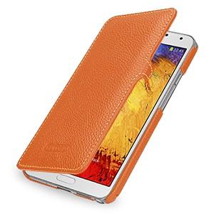 Кожаный чехол книжка горизонтальная (нат. кожа) для Galaxy Note 3 Оранжевый