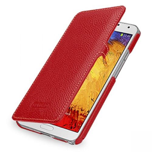 Кожаный чехол книжка горизонтальная (нат. кожа) для Galaxy Note 3 Красный