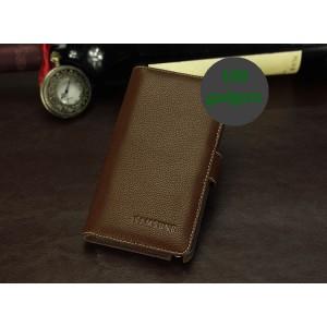 Кожаный чехол портмоне (нат. кожа) для Galaxy Note 3 Коричневый