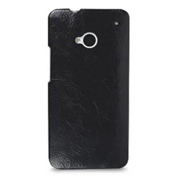 Кожаный эксклюзивный чехол ручной работы Back Cover (цельная телячья кожа) черный для HTC One M7 Dual SIM