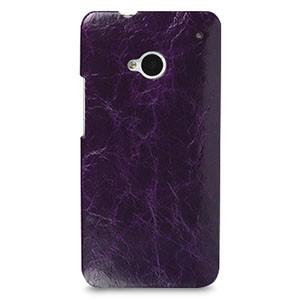 Кожаный эксклюзивный чехол ручной работы Back Cover (цельная телячья кожа) фиолетовый для HTC One M7 Dual SIM