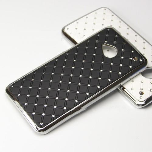 Чехол пластик/металл со стразами для HTC One M7 One SIM (Для модели с одной сим-картой) Голубой