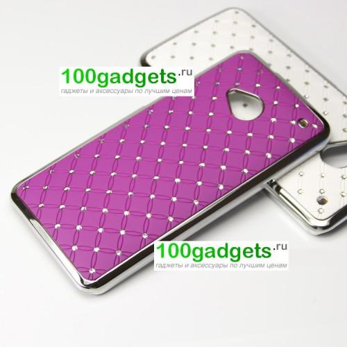 Чехол пластик/металл со стразами для HTC One M7 One SIM (Для модели с одной сим-картой) Желтый