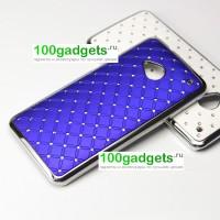 Чехол пластик/металл со стразами для HTC One M7 One SIM (Для модели с одной сим-картой) Синий