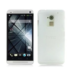 Пластиковый полупрозрачный чехол для HTC One Max Белый