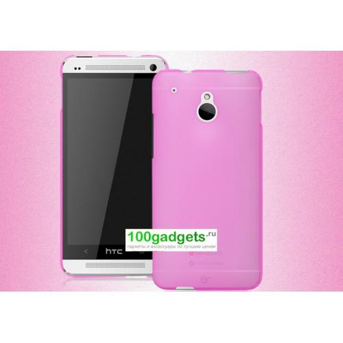 Пластиковый полупрозрачный чехол для HTC One Mini Розовый