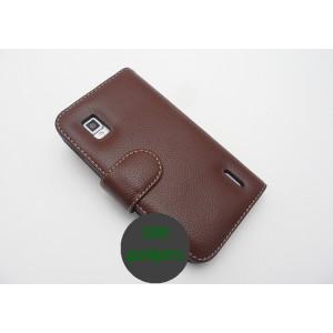 Кожаный чехол портмоне (нат. кожа) для LG Optimus G Коричневый