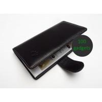 Кожаный чехол портмоне (нат. кожа) для Huawei Ascend P6 Черный