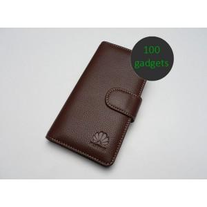 Кожаный чехол портмоне (нат. кожа) для Huawei Ascend P6 Коричневый