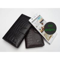 Кожаный чехол портмоне (нат. кожа крокодила) для Huawei Ascend P6