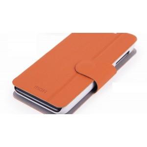 Кожаный чехол подставка для Lenovo IdeaPhone P770 Оранжевый