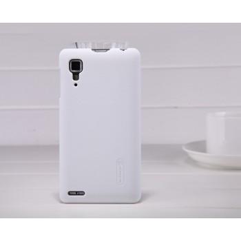 Пластиковый матовый чехол премиум для Lenovo P780 Ideaphone Белый