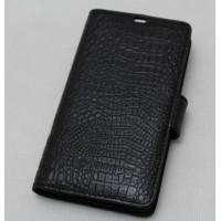 Кожаный чехол портмоне (нат. кожа крокодила) для Philips Xenium W8510 Черный