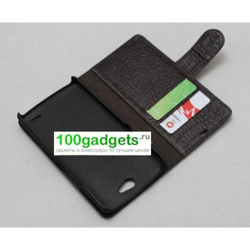 Кожаный чехол портмоне (нат. кожа крокодила) для Philips Xenium W8510