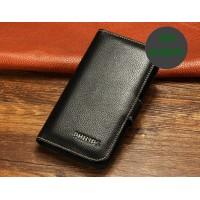 Кожаный чехол портмоне (нат. кожа) для Philips W6610 Xenium Черный