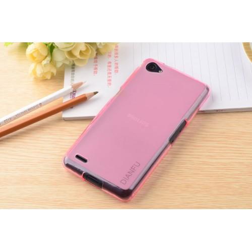 Силиконовый полупрозрачный чехол для Philips W6610 Xenium Розовый