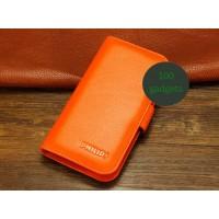 Кожаный чехол портмоне (нат. кожа) для Philips Xenium W8555 Оранжевый