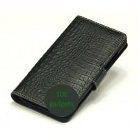 Кожаный чехол портмоне (нат. кожа крокодила) для Philips Xenium W8555 Черный