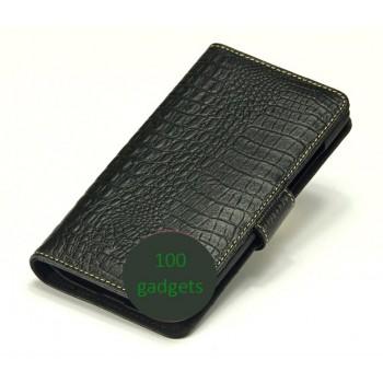 Кожаный чехол портмоне (нат. кожа крокодила) для Philips Xenium W8555