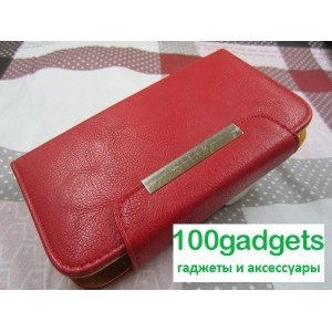 Чехол портмоне с защелкой на зажимах для Philips Xenium W8555 Красный