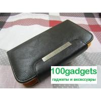 Чехол портмоне с защелкой на зажимах для Philips Xenium W8555 Черный