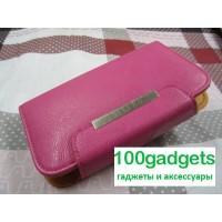 Чехол портмоне с защелкой на зажимах для Philips Xenium W8555 Розовый