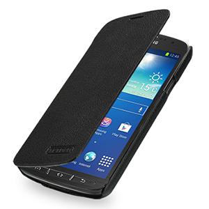 Кожаный чехол горизонтальная книжка (нат. кожа) для Samsung Galaxy S4 Active Черный