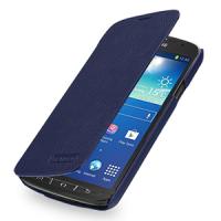 Кожаный чехол горизонтальная книжка (нат. кожа) для Samsung Galaxy S4 Active Синий