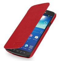 Кожаный чехол горизонтальная книжка (нат. кожа) для Samsung Galaxy S4 Active Красный