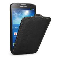 Кожаный чехол вертикальная книжка (нат. кожа) для Samsung Galaxy S4 Active Черный