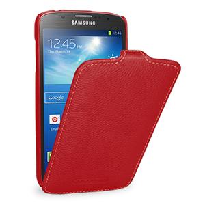 Кожаный чехол вертикальная книжка (нат. кожа) для Samsung Galaxy S4 Active Красный