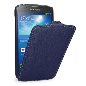 Кожаный чехол вертикальная книжка (нат. кожа) для Samsung Galaxy S4 Active Синий