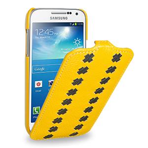 Эксклюзивный кожаный чехол (кожа ручного плетения) для Samsung Galaxy S4 Mini желтая