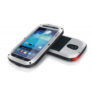 Ультрапротекторный пылеводоударостойкий чехол металл/стекло для Samsung Galaxy S4 Белый