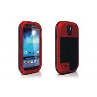 Ультрапротекторный пылеводоударостойкий чехол металл/стекло для Samsung Galaxy S4 Красный