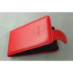 Кожаный чехол книжка вертикальная (нат. кожа) для Lenovo IdeaPhone S920 Красный