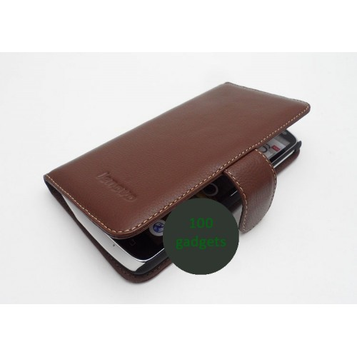 Кожаный чехол портмоне (нат. кожа) для Lenovo IdeaPhone S920 Черный
