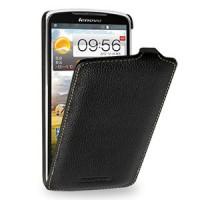 Кожаный чехол книжка вертикальная (нат. кожа) для Lenovo IdeaPhone S920 Черный