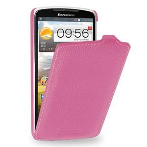 Кожаный чехол книжка вертикальная (нат. кожа) для Lenovo IdeaPhone S920 Розовый