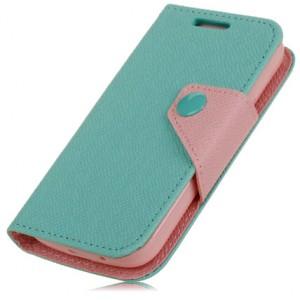 Чехол портмоне подставка с заклепкой для Samsung Galaxy Ace 3 Голубой