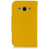 Чехол портмоне подставка с заклепкой для Samsung Galaxy Ace 3 Желтый