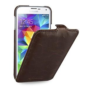 Кожаный чехол вертикальная книжка (нат. кожа) для Samsung Galaxy S5