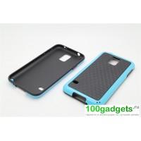 Силиконовый двухцветный чехол серия Cubes для Samsung Galaxy S5 Голубой