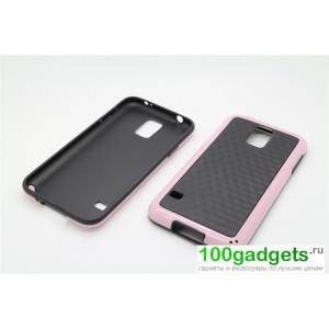 Силиконовый двухцветный чехол серия Cubes для Samsung Galaxy S5 Розовый