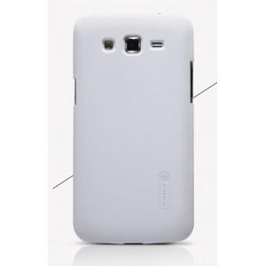 Пластиковый матовый нескользящий премиум чехол для Samsung Galaxy Grand 2 Белый