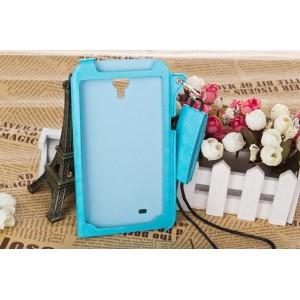 Кожаный чехол бампер подвеска для Samsung Galaxy Mega 6.3 Голубой