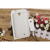 Кожаный чехол бампер подвеска для Samsung Galaxy Mega 6.3 Белый