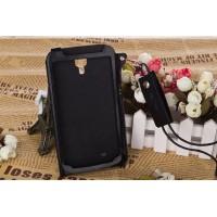 Кожаный чехол бампер подвеска для Samsung Galaxy Mega 6.3 Черный